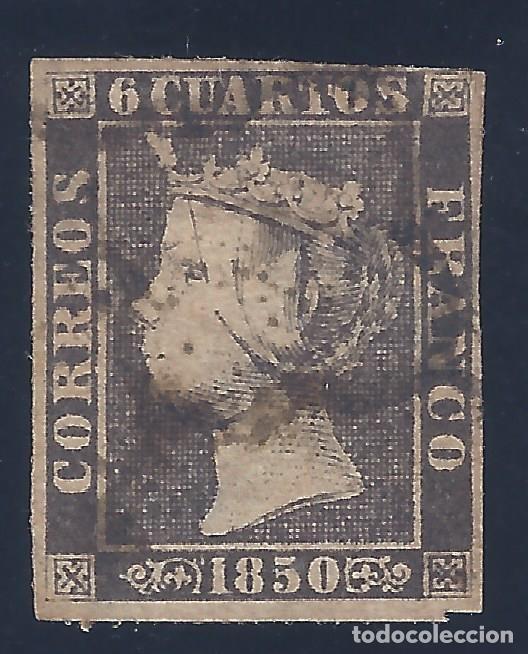 EDIFIL 1A. ISABEL II. AÑO 1850. MATASELLOS DE ARAÑA NEGRA. PAPEL GRUESO. LUJO. (Sellos - España - Isabel II de 1.850 a 1.869 - Usados)