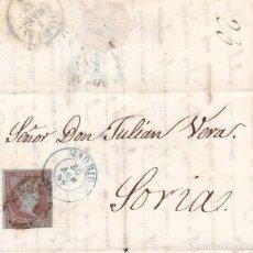 Sellos: AÑO1855 EDIFIL 40 ISABEL II CARTA A SORIAMATASELLOS REJILLA Y AZUL MADRID. Lote 194614921