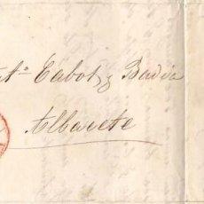 Sellos: AÑO1855 EDIFIL 40 ISABEL II CARTA A ALBACETE MATASELLOS REJILLA Y ROJO VALENCIA. Lote 194615295