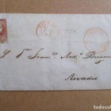 Sellos: CIRCULADA 1856 DE BILBAO A RIVADEO LUGO CORREO MARITIMO CASTRO URDIALES VIZCAYA. Lote 194659045