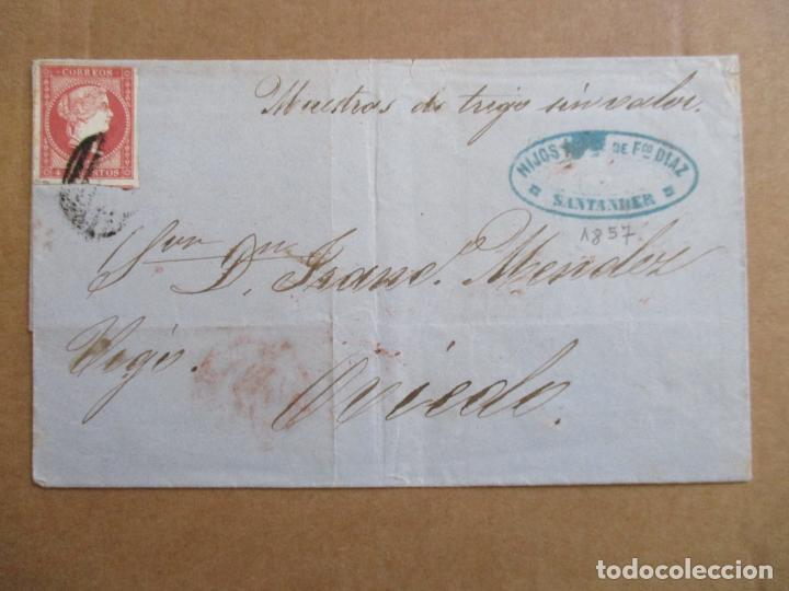 CIRCULADA 1857 DE SANTANDER A OVIEDO (Sellos - España - Isabel II de 1.850 a 1.869 - Cartas)