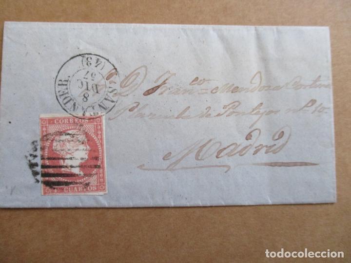 CIRCULADA 1857 DE SANTANDER A MADRID (Sellos - España - Isabel II de 1.850 a 1.869 - Cartas)