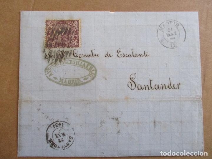 CIRCULADA 1869 DE MADRID A SANTANDER (Sellos - España - Isabel II de 1.850 a 1.869 - Cartas)