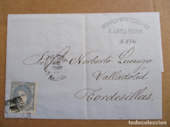 CIRCULADA 1872 DE SANTANDER A TORDESILLAS VALLADOLID (Sellos - España - Isabel II de 1.850 a 1.869 - Cartas)