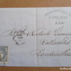 Sellos: CIRCULADA 1872 DE SANTANDER A TORDESILLAS VALLADOLID. Lote 194782148
