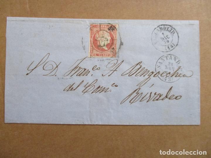 CIRCULADA 1859 DE SANTANDER A RIVADEO LUGO POR VALLADOLID (Sellos - España - Isabel II de 1.850 a 1.869 - Cartas)