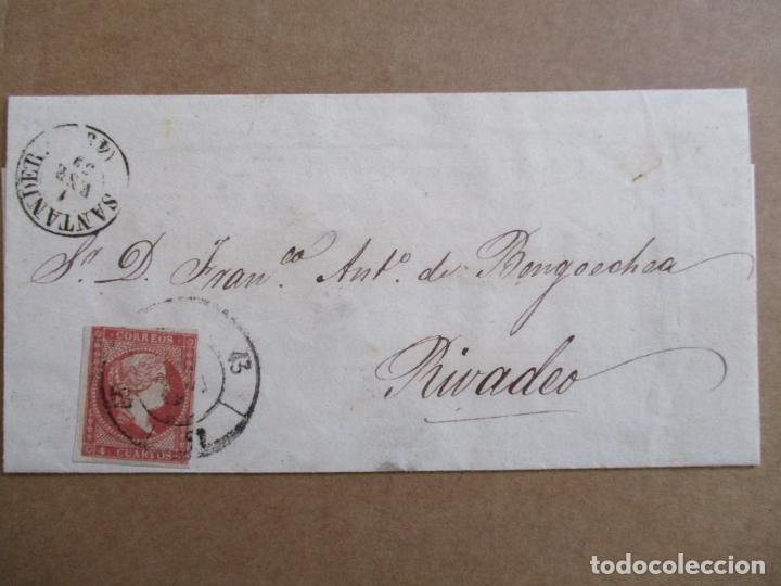 CIRCULADA 1859 DE SANTANDER A RIVADEO LUGO (Sellos - España - Isabel II de 1.850 a 1.869 - Cartas)