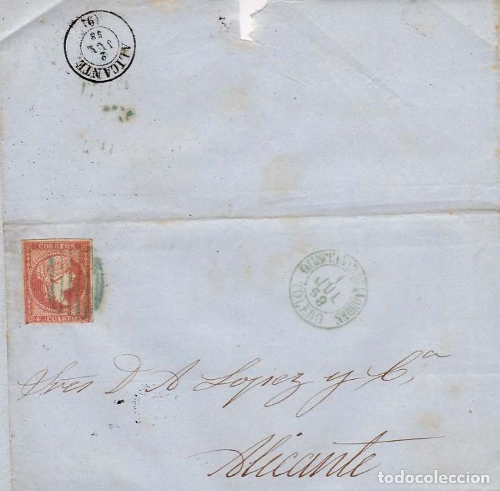 AÑO1856 EDIFIL 48 ISABEL II ENVUELTA A ALICANTE MATASELLOS REJILLA Y AZUL QUINTANAR DE LA ORDEN (Sellos - España - Isabel II de 1.850 a 1.869 - Cartas)