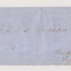 Sellos: ENVUELTA. 1867. OVIEDO. ASTURIAS. RUEDA DE CARRETA. A RIBADEO. LUGO.. Lote 194939720