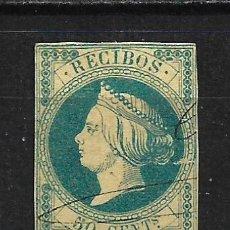 Sellos: ESPAÑA SELLO RECIBOS 1862 ISABEL II 50 CENT. - 2/9. Lote 195006275