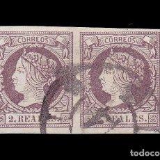 Sellos: *** ISABEL II. 1860-1861. PAREJA CON MAT. RUEDA DE CARRETA 14 (VALLADOLID) EDIFIL 56 ***. Lote 195033986