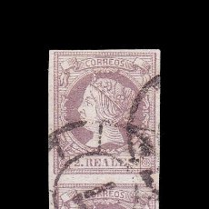 Timbres: *** ISABEL II. 1860-1861. PAREJA VERTICAL CON MAT. RUEDA DE CARRETA 7 (SEVILLA) EDIFIL 56 ***. Lote 195034366