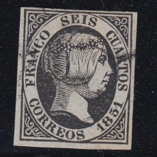 Sellos: 1851 EDIFIL 6 USADO. ADELGAZADO. ISABEL II (220). Lote 195034710