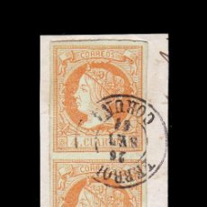 Sellos: *** ISABEL II. 1860-1861. FECHADOR FERROL (CORUÑA) T.II SOBRE TRÍO VERTICAL 6 CUARTOS. EDIFIL 52 ***. Lote 195047046