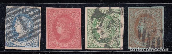 1864 EDIFIL 63/65 Y 67 USADOS. ISABEL II (220) (Sellos - España - Isabel II de 1.850 a 1.869 - Nuevos)