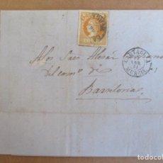 Sellos: CIRCULADA Y ESCRITA 1861 DE PUERTO DE ALMAZARRON MAZARRON CARTAGENA MURCIA A BARCELONA. Lote 195099325