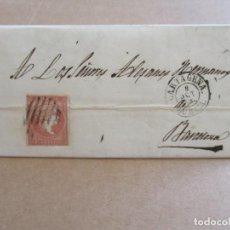 Sellos: CIRCULADA Y ESCRITA 1858 DE MAZARRON CARTAGENA MURCIA A BARCELONA . Lote 195099676