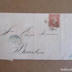 Sellos: CIRCULADA Y ESCRITA 1858 DE LORCA MURCIA A BARCELONA . Lote 195100043