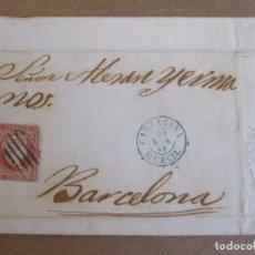 Sellos: CIRCULADA Y ESCRITA 1858 DE ALMAZARRON MAZARRON CARTAGENA MURCIA A BARCELONA . Lote 195100226