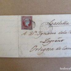 Sellos: CIRCULADA Y ESCRITA SE HALLABA EL COLERA EN LA RIOJA 1855 DE CALDAS PONTEVEDRA A ORTIGOSA LOGROÑO. Lote 195108086