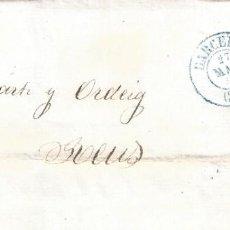 Sellos: CARTA DIRIGIDA A REUS. EDIFIL 48 CON PARRILLA NEGRA. FECHADOR AZUL BARCELONA 27-MAYO-1856. LUJO.. Lote 195151025