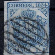 Sellos: EDIFIL 34 A USADO, 1 REAL, 1854. ESCUDO DE ESPAÑA, SPAIN. Lote 195156427