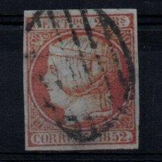 Sellos: EDIFIL 14 USADO PARRILLA, 2 REALES, 1852. ISABEL II. ESPAÑA, SPAIN. Lote 195156440