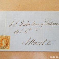 Sellos: ENVUELTA CON SELLO DE 4 CUARTOS AMARILLO, ALBACETE.. Lote 195179560