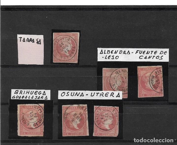 ED 48 FECHADORES DE TARRASA, ALMENDRALEJO, FUENTE DE CANTOS, OSUNA, UTRERA Y BRIHUEGA. (Sellos - España - Isabel II de 1.850 a 1.869 - Usados)