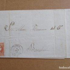Sellos: CIRCULADA Y ESCRITA 1857 DE LORCA MURCIA A BARCELONA . Lote 195199987