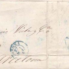 Sellos: AÑO1856 EDIFIL 48 ISABEL II CARTA MATASELLOS REJILLA AZUL Y AZUL GERONA. Lote 195222648