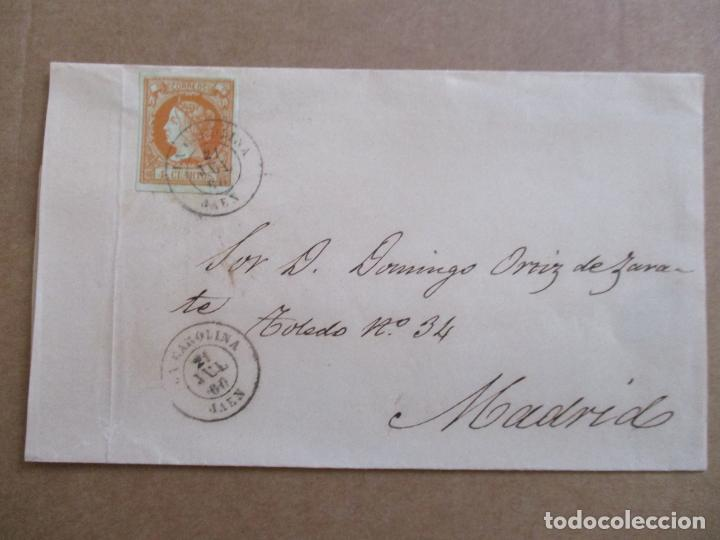 CIRCULADA 1860 DE LA CAROLINA JAEN A MADRID (Sellos - España - Isabel II de 1.850 a 1.869 - Cartas)