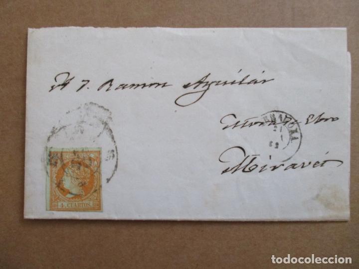 CIRCULADA 1862 DE TARRAGONA A MORA DE EBRO MIRAVET (Sellos - España - Isabel II de 1.850 a 1.869 - Cartas)