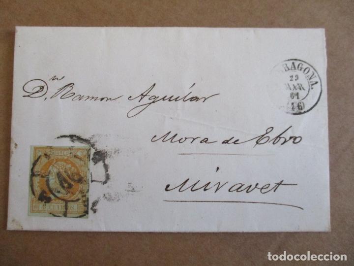 CIRCULADA 1861 DE TARRAGONA A MORA DE EBRO MIRAVET (Sellos - España - Isabel II de 1.850 a 1.869 - Cartas)