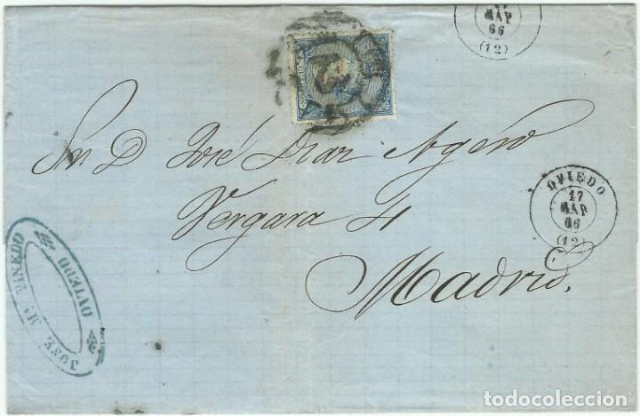 17/03/1866. OVIEDO A MADRID, EDIFIL 81 MAT. RUEDA CARRETA 12 (Sellos - España - Isabel II de 1.850 a 1.869 - Cartas)