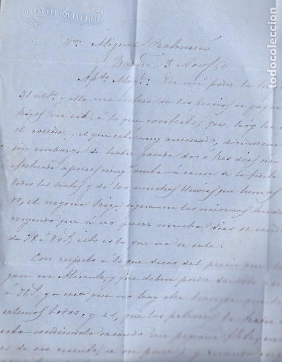 Sellos: F8-10- Carta Completa BARCELONA- ALBACETE 1860 - Foto 3 - 195324790