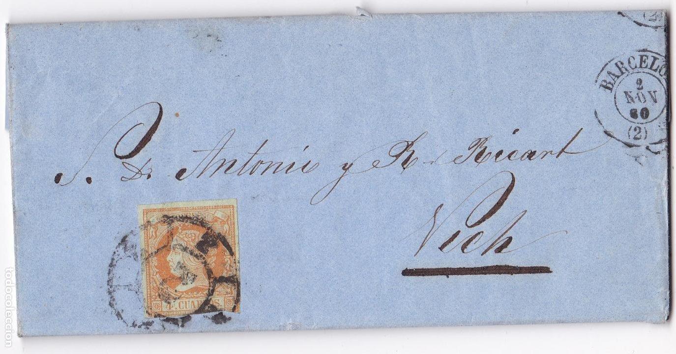 F8-10- CARTA COMPLETA BARCELONA- VICH 1860 (Sellos - España - Isabel II de 1.850 a 1.869 - Cartas)