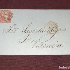 Sellos: ALICANTE A VALENCIA. CARTA CIRCULADA. 1856. Lote 195514946