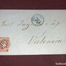 Sellos: ALICANTE A VALENCIA. CARTA CIRCULADA. 1857. Lote 195514958