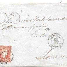 Sellos: CATALUÑA. GERONA. EDIFIL Nº 44. ENVUELTA DE RIPOLL A MIRAVET. 1857. Lote 195610573