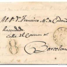 Sellos: CATALUÑA. GERONA. 8 DE PORTEO. ENVUELTA DE LA BISBAL A BARCELONA. 1854. Lote 195613205