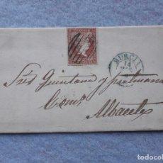 Sellos: CARTA COMPLETA. ALBACETE - MURCIA. SELLO ISABEL II 4 CUARTOS. ESCRITA EL 14 DE MARZO DE 1856. Lote 195757715