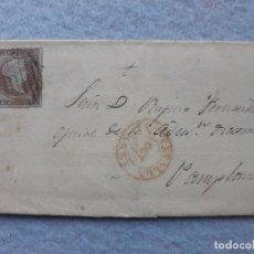 Sellos: FRONTAL DE CARTA ÉPOCA ISABEL II. TAFALLA - PAMPLONA. SELLO 4 CUARTOS. . Lote 195765266