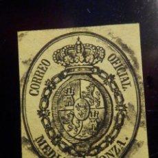 Sellos: SELLO EDIFIL ESPAÑA Nº 35 - ISABEL II SEGUNDA - ESCUDO - CORREO OFICIAL - AÑO 1855 - MEDIA ONZA. Lote 195792260