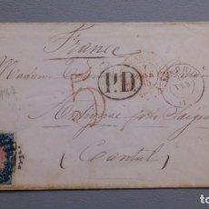 Sellos: ESPAÑA-1865 - SOBRE COMPLETO - ISABEL II - EDIFIL 70 - MADRID - CANTAL (FRANCIA) - FECHADIRES - LUJO. Lote 195902272