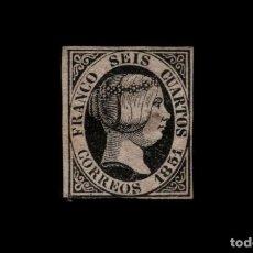 Sellos: ESPAÑA - 1851 - ISABEL II - EDIFIL 6 - MH* - NUEVO CON GOMA - VALOR CATALOGO 375€.. Lote 196284017