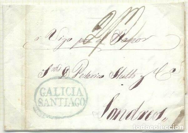 CARTA PREFILATELIA 1840. SANTIAGO A LONDRES. CORREO MARÍTIMO. VÍA VIGO (Sellos - España - Isabel II de 1.850 a 1.869 - Cartas)