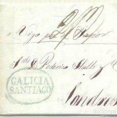 Sellos: CARTA PREFILATELIA 1840. SANTIAGO A LONDRES. CORREO MARÍTIMO. VÍA VIGO. Lote 196935315