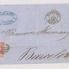 Sellos: CARTA ENTERA. BARBASTRO, HUESCA. 1858. FECHADOR DE LUJO. Lote 197224297