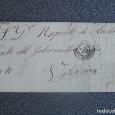 Sellos: CARTA COMPLETA AÑO 1868 SEGORBE CON FECHADOR DE SEGORBE CASTELLÓN A VALENCIA EDIFIL 98 . Lote 197307977